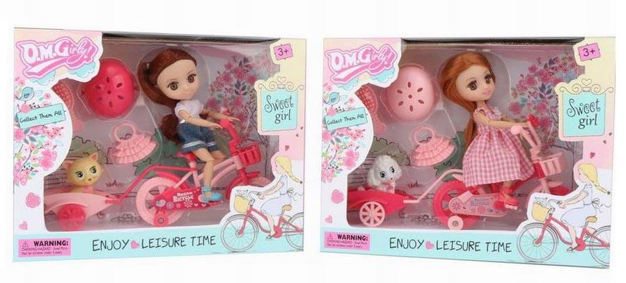 Куколка №58002 на велосипеде с домашним любимцем/коробка/26*20,3*6