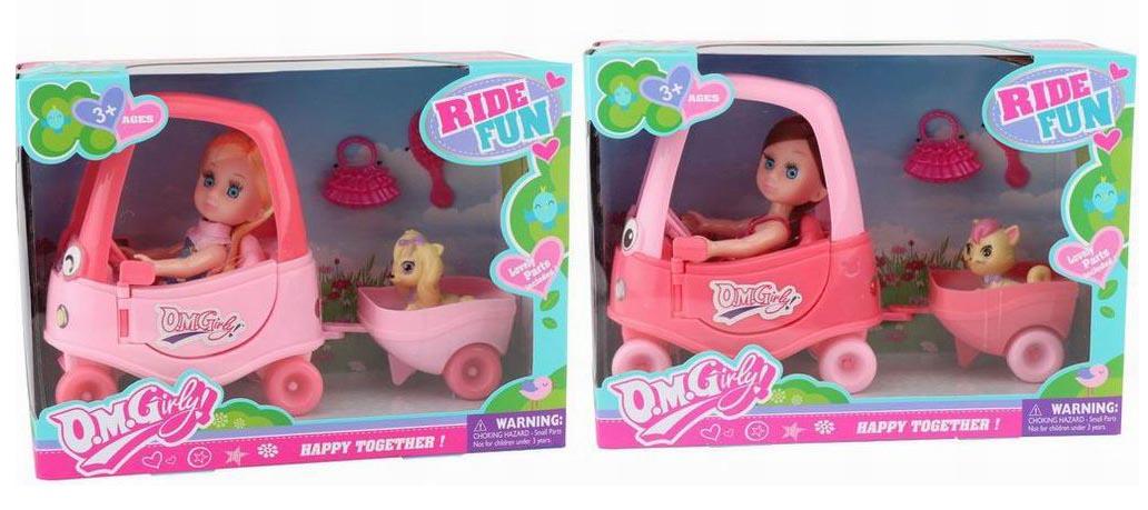 Куколка №64011 с домашним любимцем на машине/коробка/26*19*11