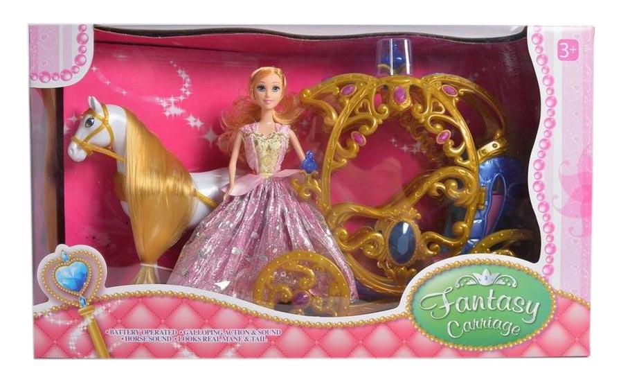 Сказочная карета №245А с принцессой/на батарейках, звук,свет/коробка/56*17*33,2