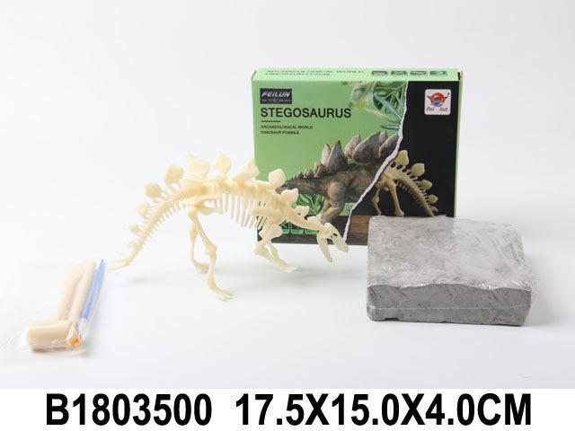 "Набор археолога ""Динозавр №4"" 12,5 см (камень,3 инструмента,книжка) (Арт. 1803500)"