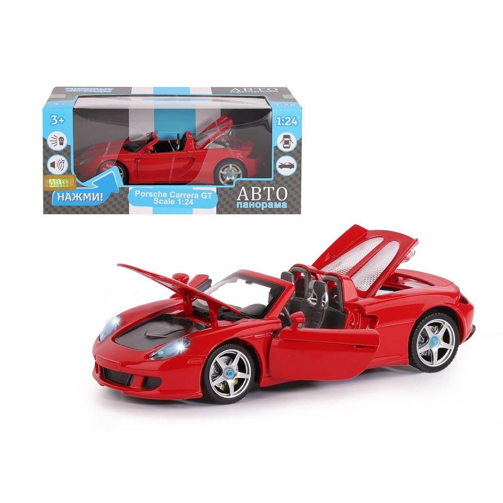 Машинка металлическая, 1:24, Porsche Carrera GT, открываются передние двери, капот и багажник. Свободный ход колес. Световые и звуковые эффекты. в/к 24,5х12,5х10,5 см