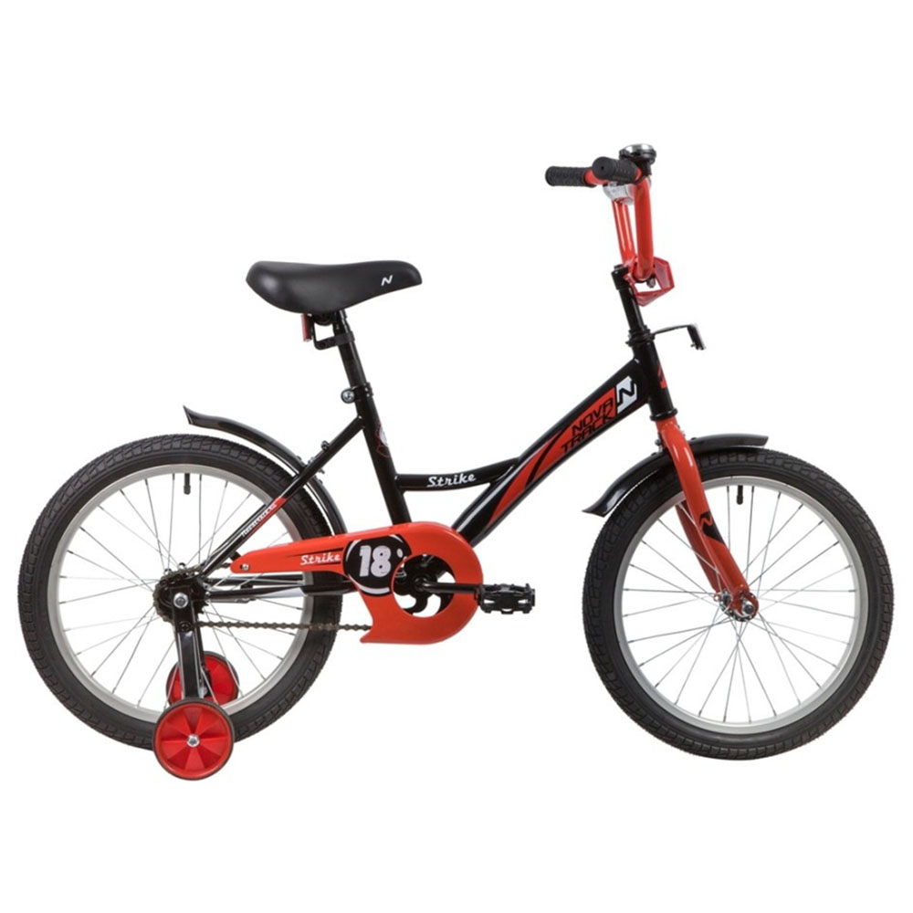 """Велосипед NOVATRACK 18"""" STRIKE черный-красный, тормоз нож, крылья корот, защита А-тип"""