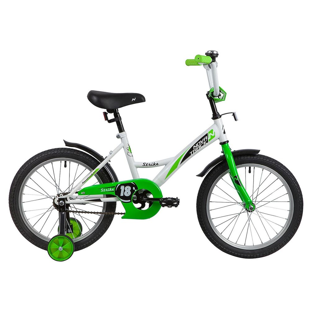 "Велосипед NOVATRACK 18"" STRIKE белый-зелёный, тормоз нож, крылья корот, защита А-тип"