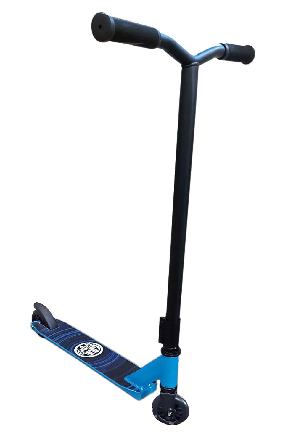 Самокат (PU/пластм. трюковый, колеса 10 см,дека ал. 50.5*10,66*10*86см, синий) (Арт. WX-ST110/1)