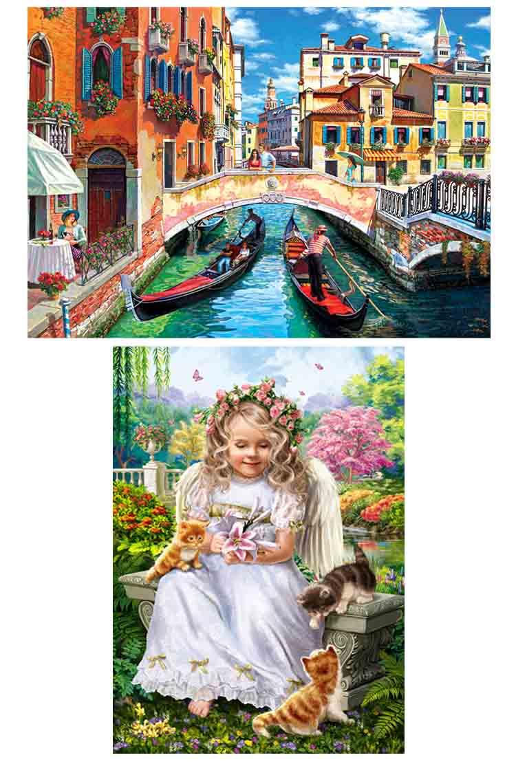 Алмаз. раскраска. Двустор. картина (блест.) 30*40. Ангелок с котятами. Венецианский канал. НД-1945
