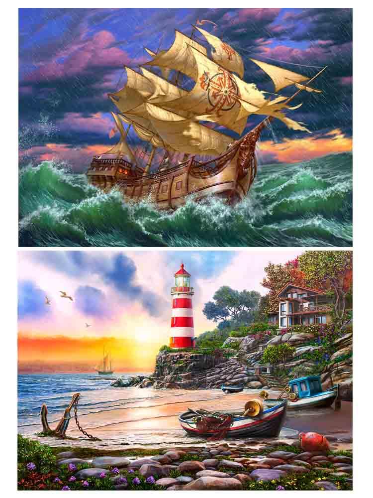 Алмаз. раскраска. Двусторонняя картина (блест.) 30*40. Закат на маяке. Корабль в шторм. Арт. НД-1956