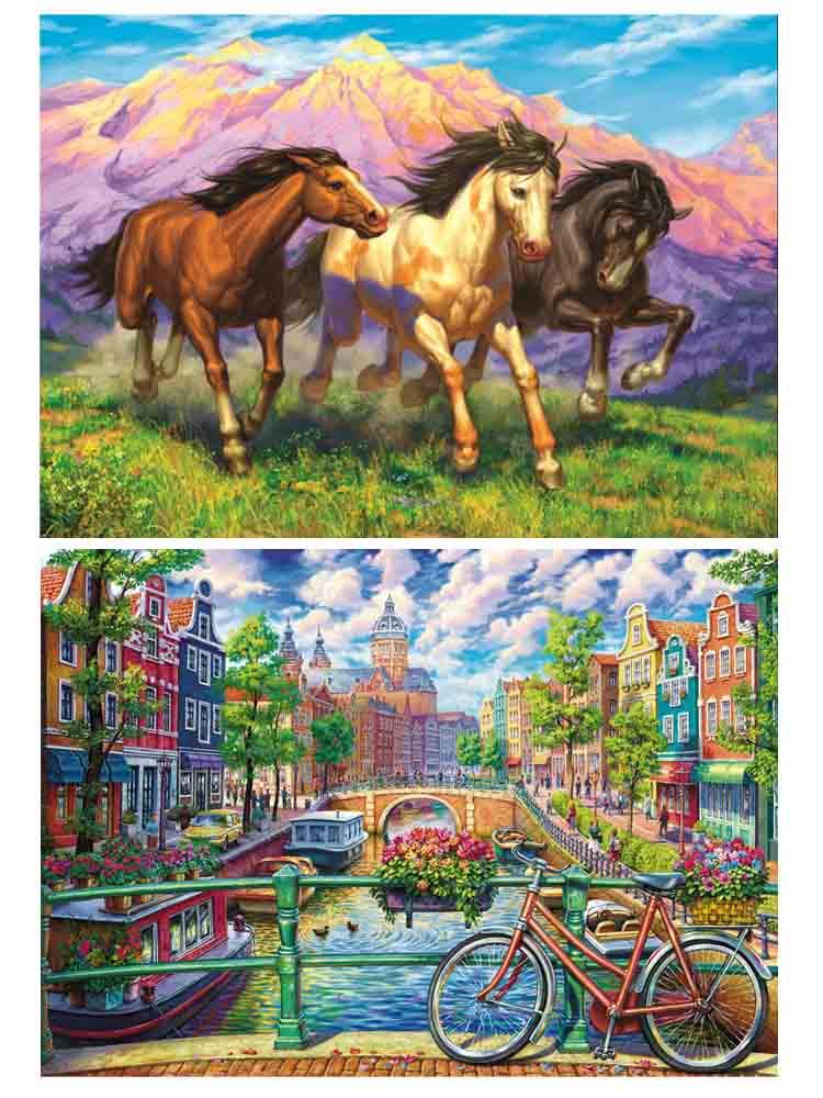 Алмаз. раскраска. Двусторонняя картина (класс.) 30*40. Голландский канал. Горные лошади. НД-1955