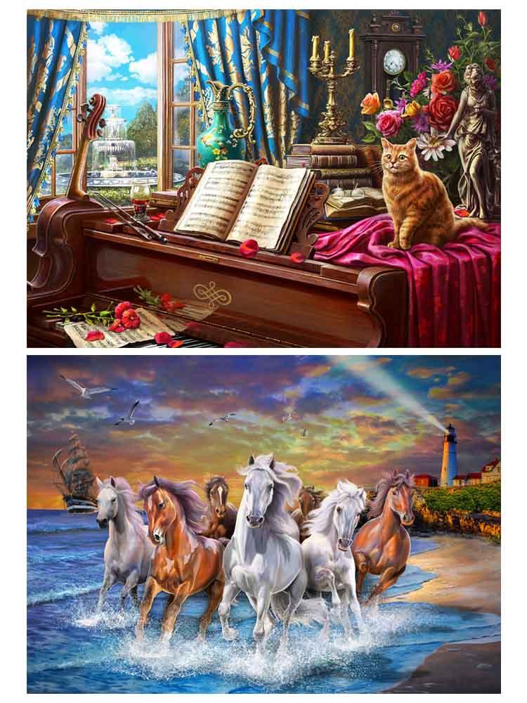 Алмаз. раскраска. Двусторонняя картина (класс.) 30*40. Котик на фортепиано. Дикие лошади. НД-1941