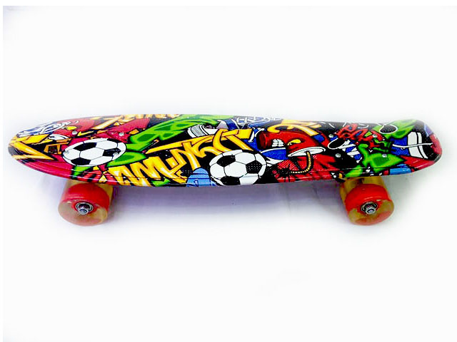 Скейт E27681 пластик, колеса PU свет, крепление аллюминий, 55,5*14см
