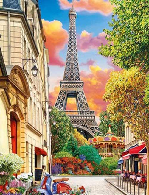 Холст с красками 17х22 по номер. в кор. (13цв.) Весенний романтичный Париж на закате (Арт. ХК-8127)