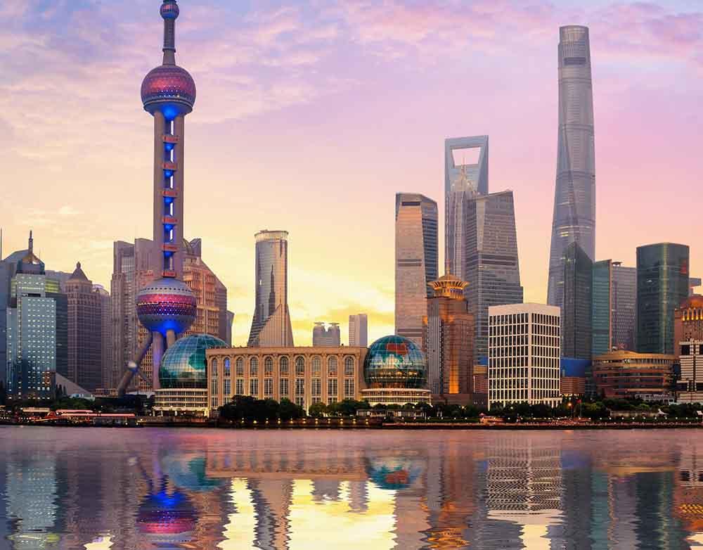 Холст с красками 17х22 по номер. в кор. (14цв.) Вид на удивительный Шанхай (Арт. ХК-8138)
