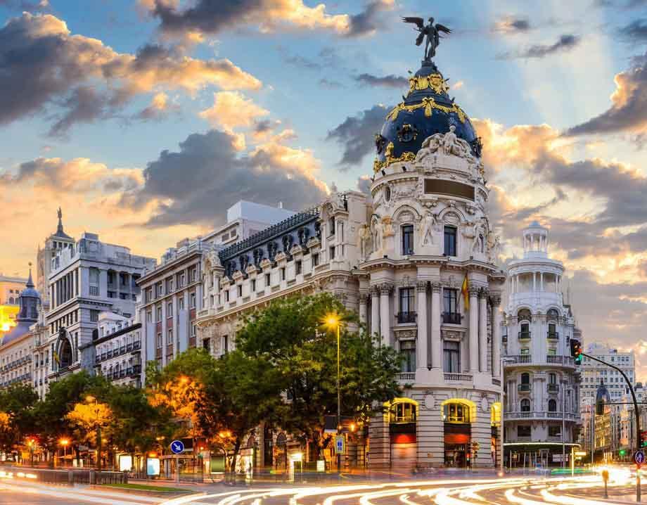 Холст с красками 17х22 по номер. в кор. (14цв.) Мадрид в сумерках (Арт. ХК-8129)
