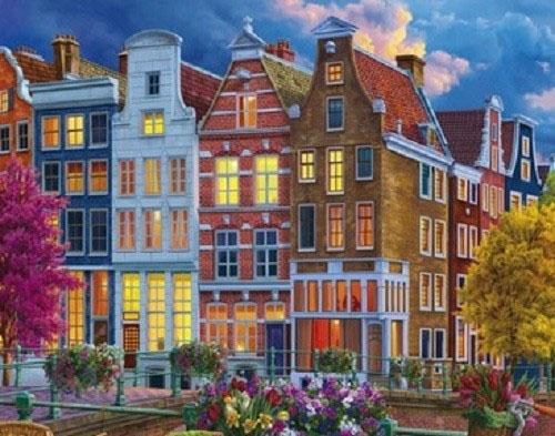 Холст с красками 17х22 по номер. в кор. (14цв.) Уютный и красочный амстердам (Арт. ХК-8126)