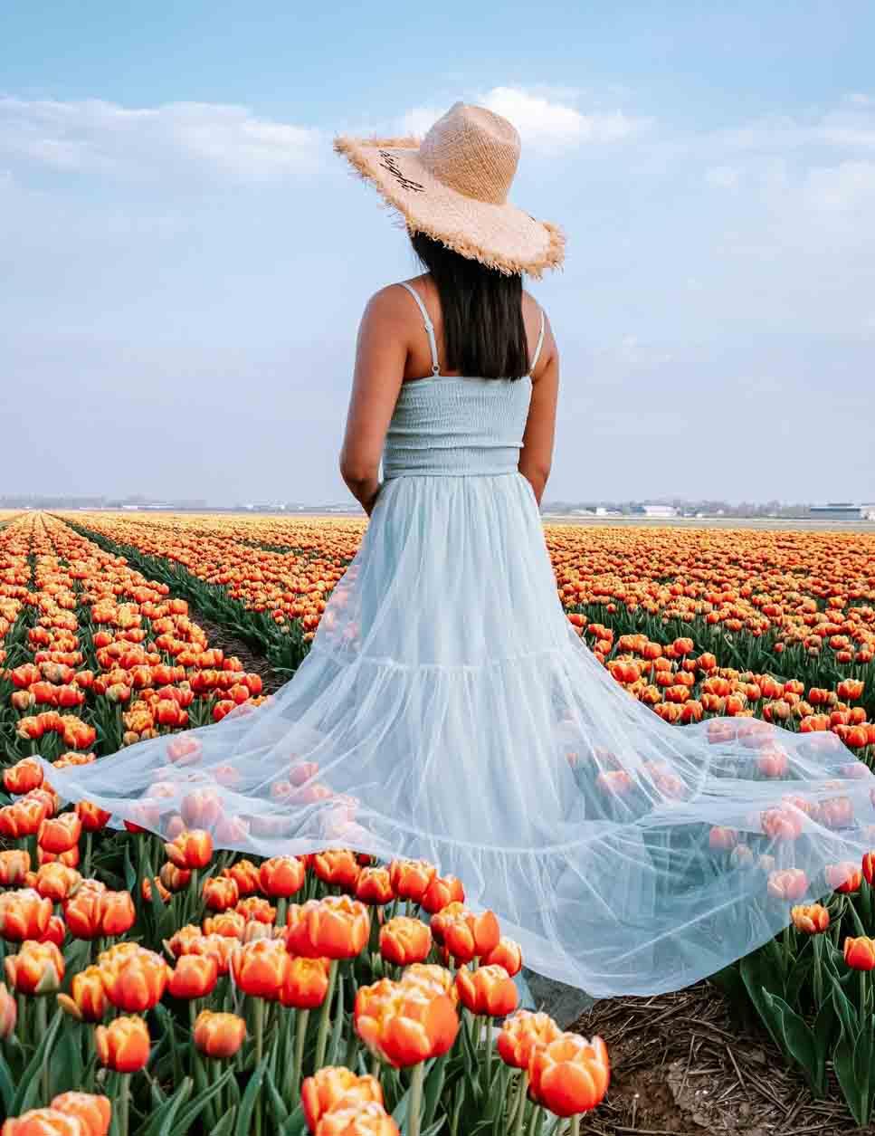 Холст с красками 17х22 по номер. в кор. (14цв.) Девушка в поле тюльпанов (Арт. ХК-8142)