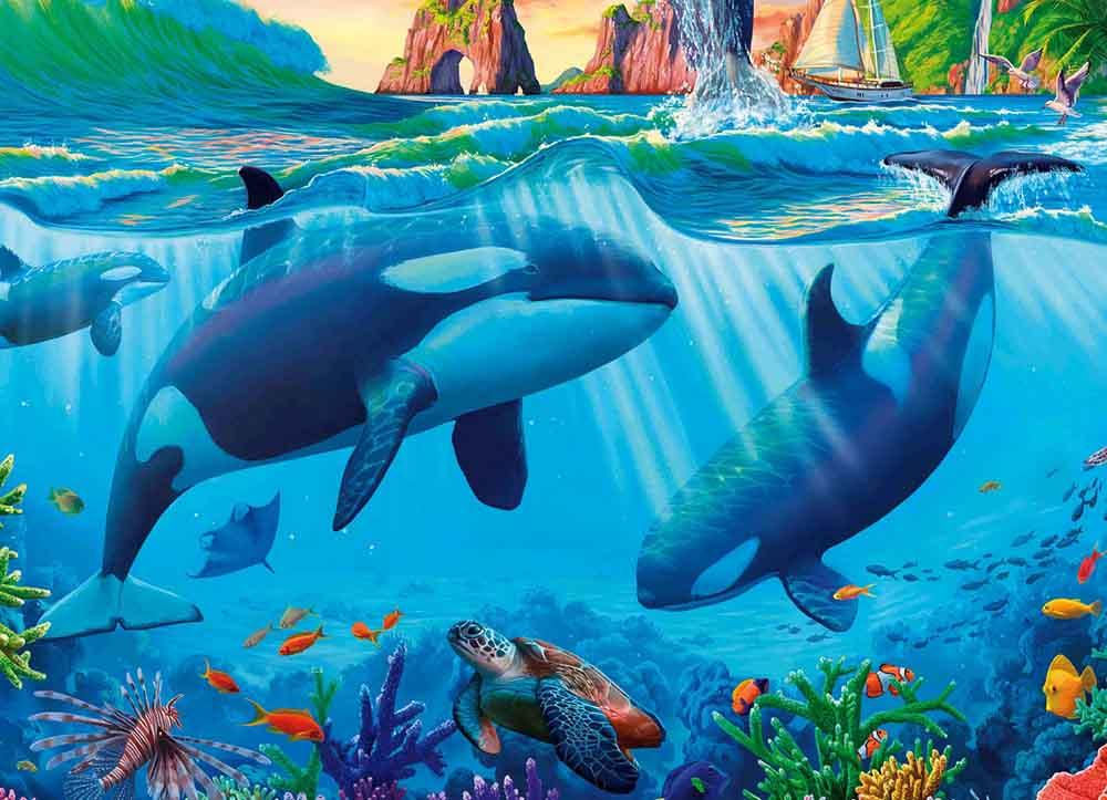 Холст с красками 17х22 по номер. в кор. (13цв.) Красивейший подводный мир (Арт. ХК-8155)