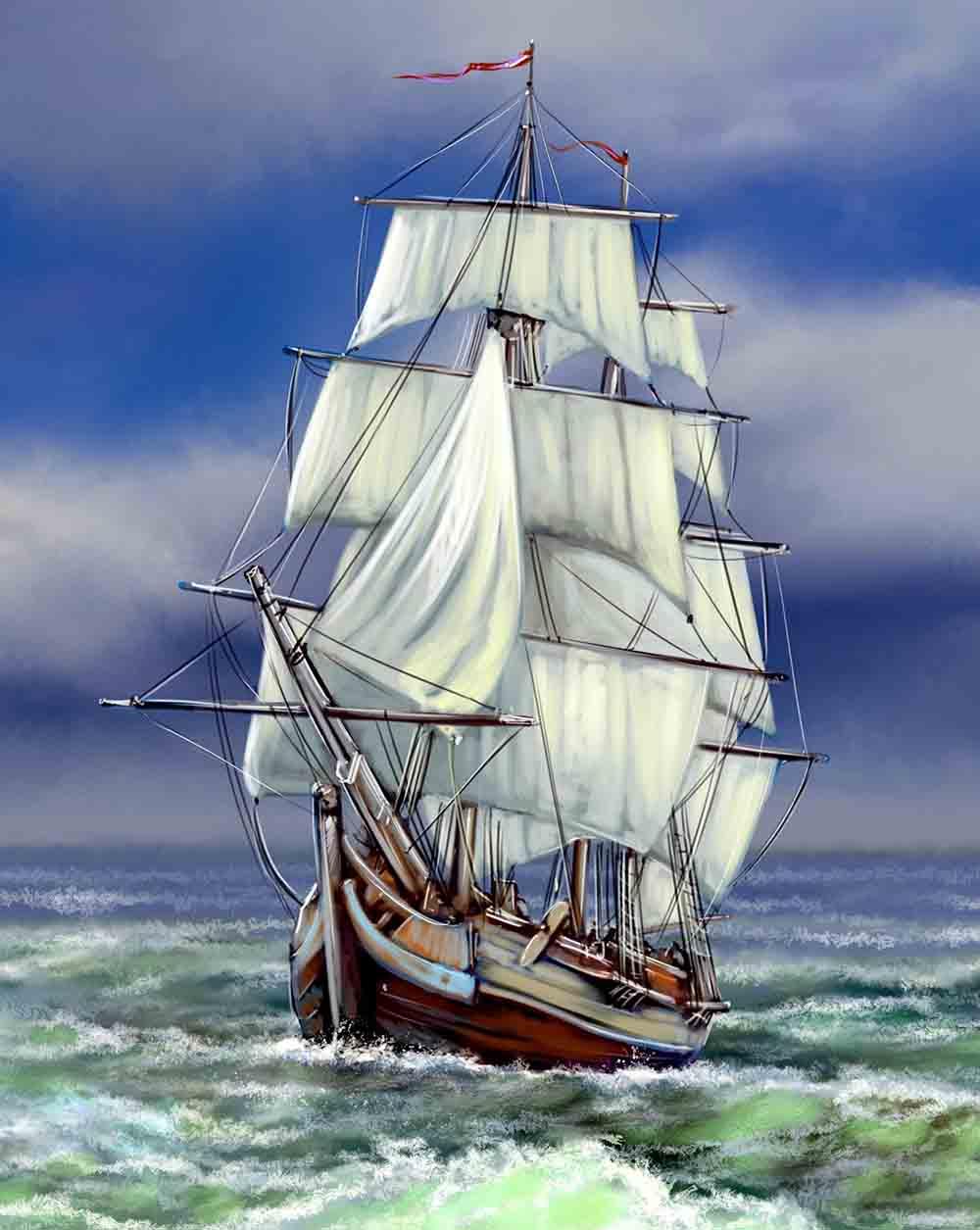 Холст с красками 17х22 по номер. в кор. (14цв.) Корабль в волнующемся море (Арт. ХК-8168)