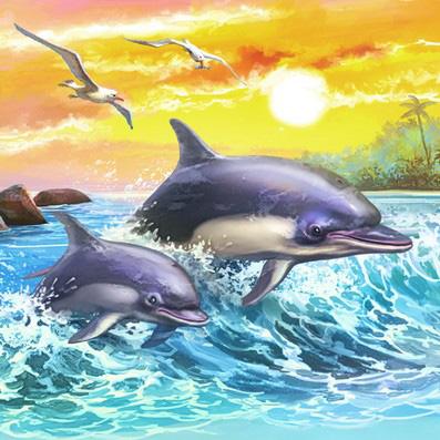 Холст с красками 20х20 по номер. в кор. (12цв.)  Резвые дельфины на закате (Арт. ХК-8816)