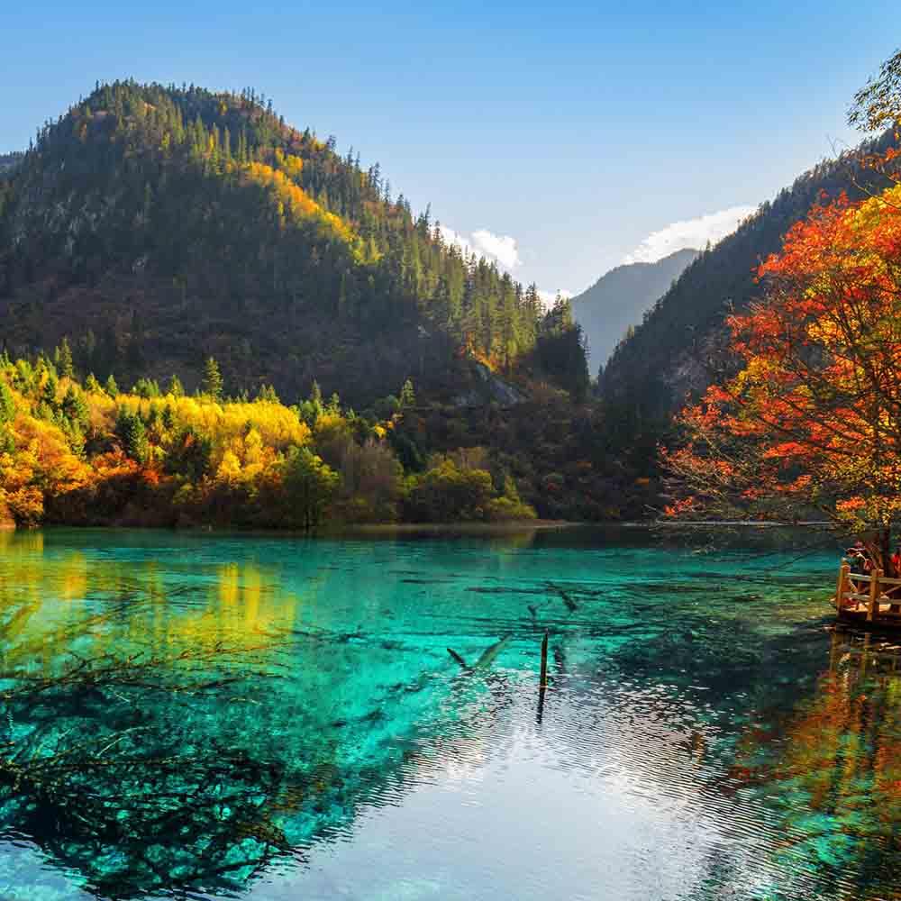 Алмазная мозаика (блест) 30х30 с подр., с полн.запол. Лазурное озеро в горах (Арт. AS30012)