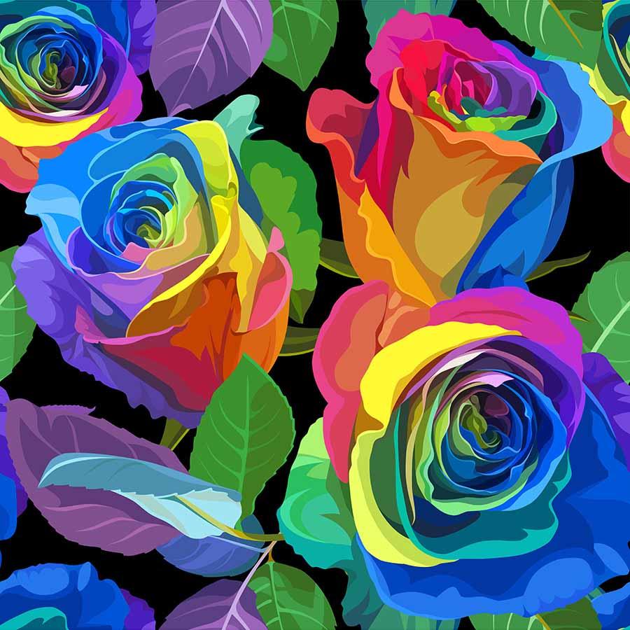 Алмазная мозаика (класс) 30*30 с подр., с полн.запол. (33 цв.) Радужные яркие розы (Арт. AC30018)