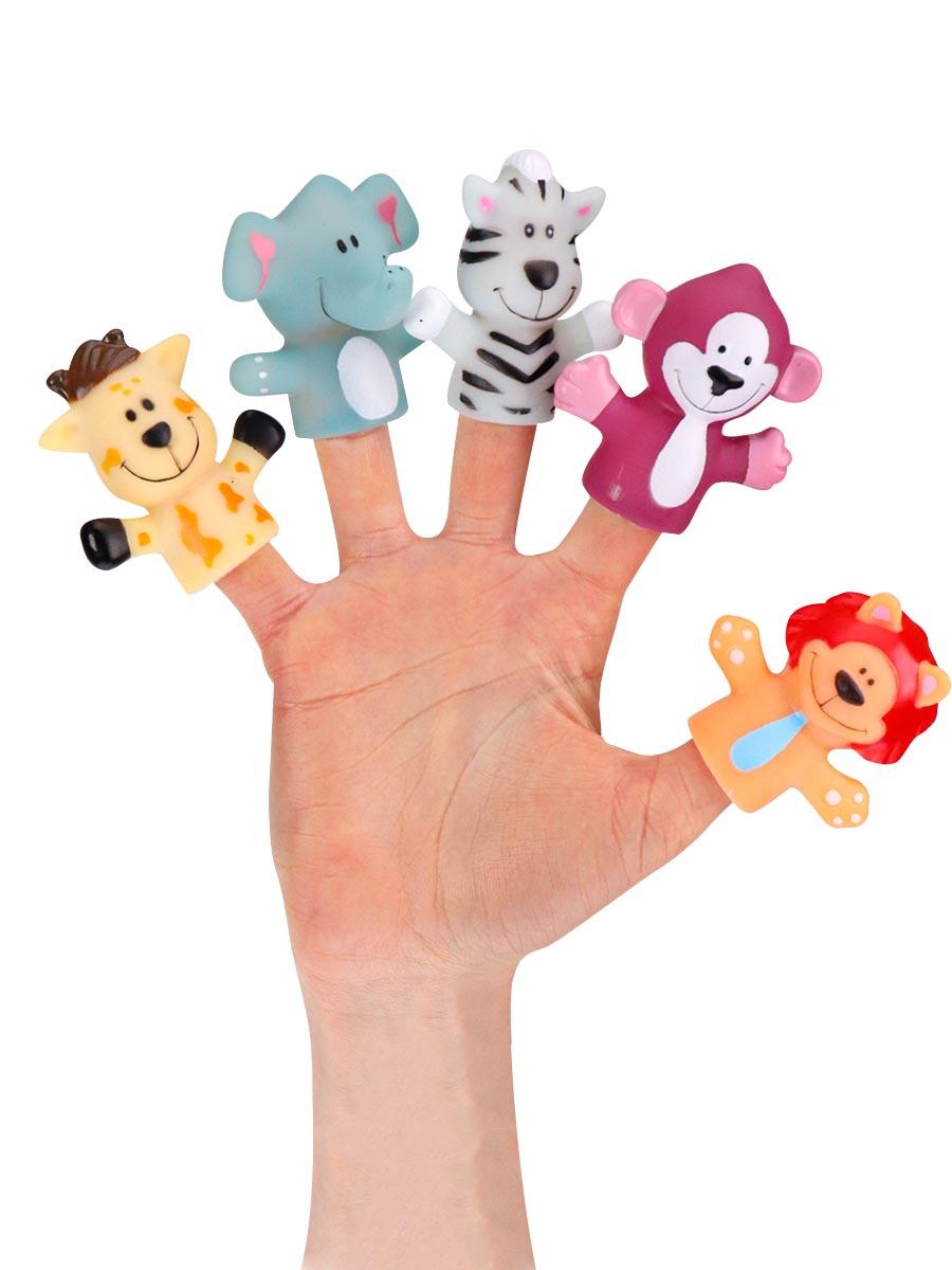 "Резиновая игрушка на палец ""Зверята 2"" (5 шт. на подложке) (арт. 1952294)"