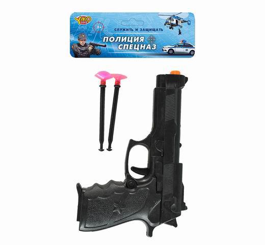 """Пистолет (22см) """"Выстрел"""" (стреляет мягк.дротиками, в компл.2 шт) в пакете (Арт. M0342)"""