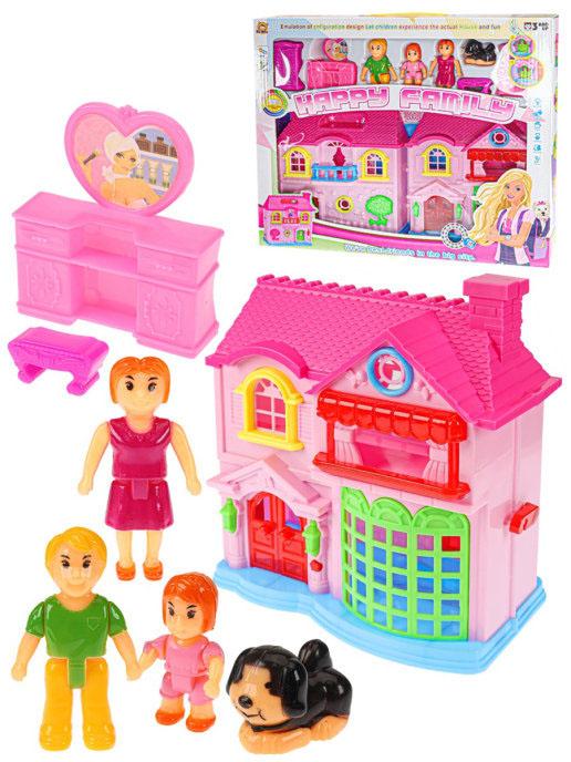 """Дом для кукол """"СЧАСТЛИВАЯ СЕМЬЯ-2"""" (39x33,5 см)(складной,8 предм.,свет,звук)(в коробке) Арт.1356356"""