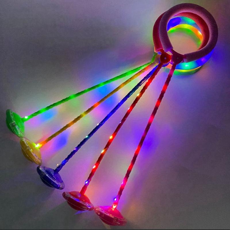 Нейроскакалка светящаяся синяя-1, (63 см, PVC колёса и палка свет) (Арт. LL6193/синий)