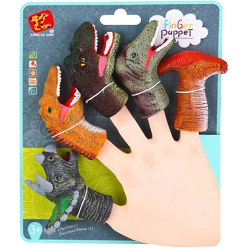 """Резиновая игрушка на палец """"Динозавры 2"""" (5 шт. на подложке) виды микс (арт. 1955005)"""