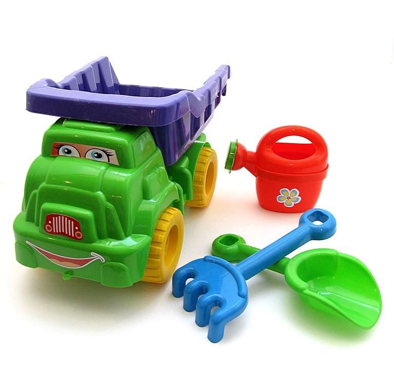 Набір пісочний №2, машинка, лійка, лопатка, грабельки 013565 салатовый/фиолетовый