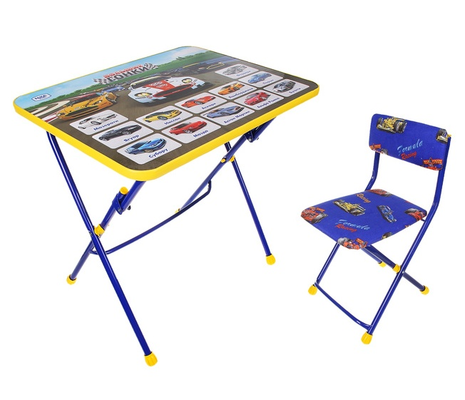 Комплект Большие гонки цвет синий (стол+стул мягкий) КП2/15