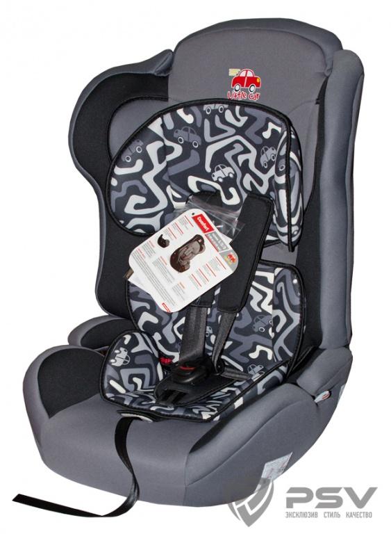 Автокресло детское 9-36кг. Little Car Comfort лабиринт-серый 125784