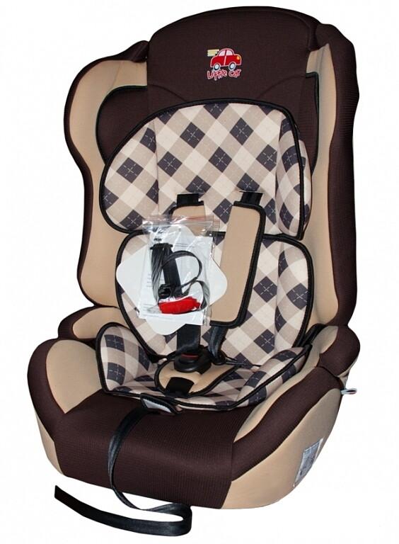 Автокресло детское 9-36кг. Little Car Comfort клетка-коричневый 125787