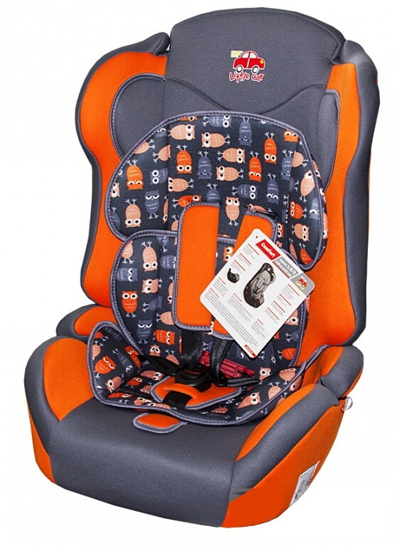 Автокресло детское 9-36кг. Little Car Comfort совы-оранжевый 126281