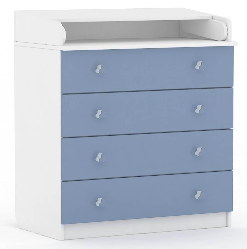Комод Фея 1580 белый-синий