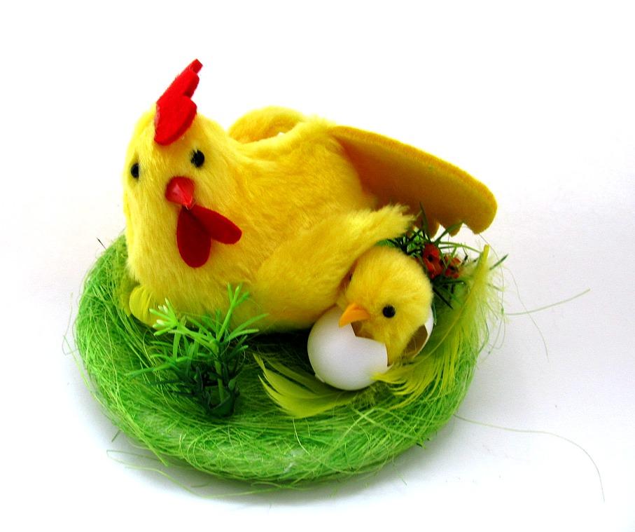 Курочка с цыплёнком в гнезде 15E-80224H1.H2