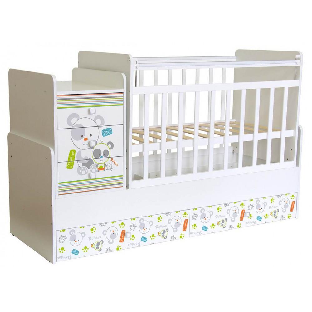 Кроватка детская Фея 1100 Панды, белый