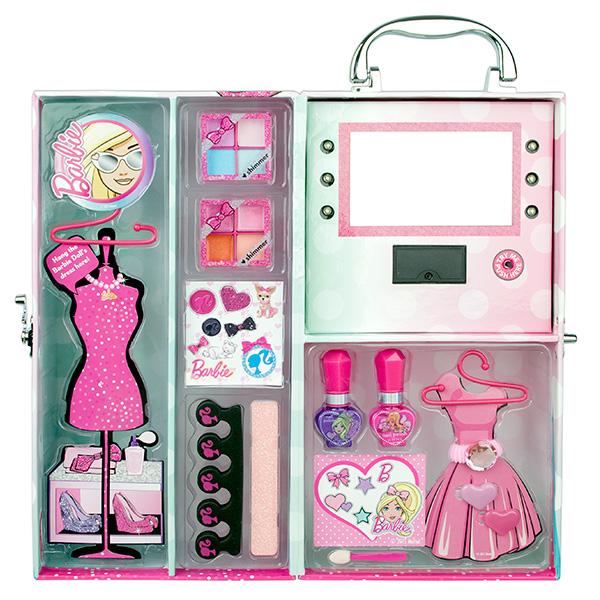 9601051 Barbie Игровой набор детской декоративной косметики в чемодане с подсветкой