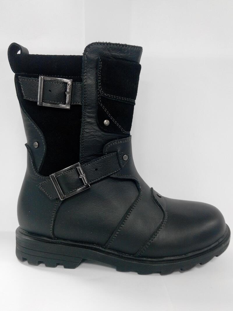 Ботинки нат.В18-F08 мальчик 32-37 черный