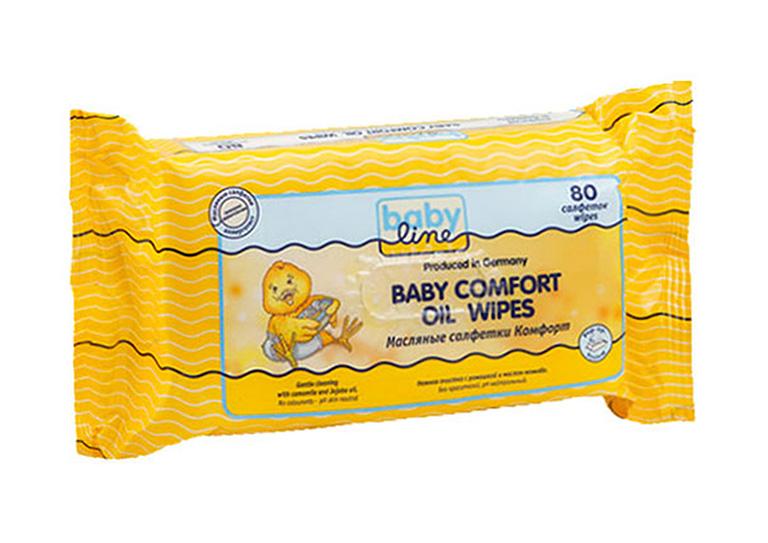 BABYLINE Масляные салфетки Комфорт уход за кожей  в области подгузника, 80 шт