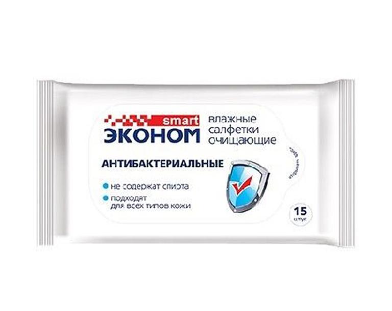 Эконом smart №15 влажные салфетки антибакт, 15шт