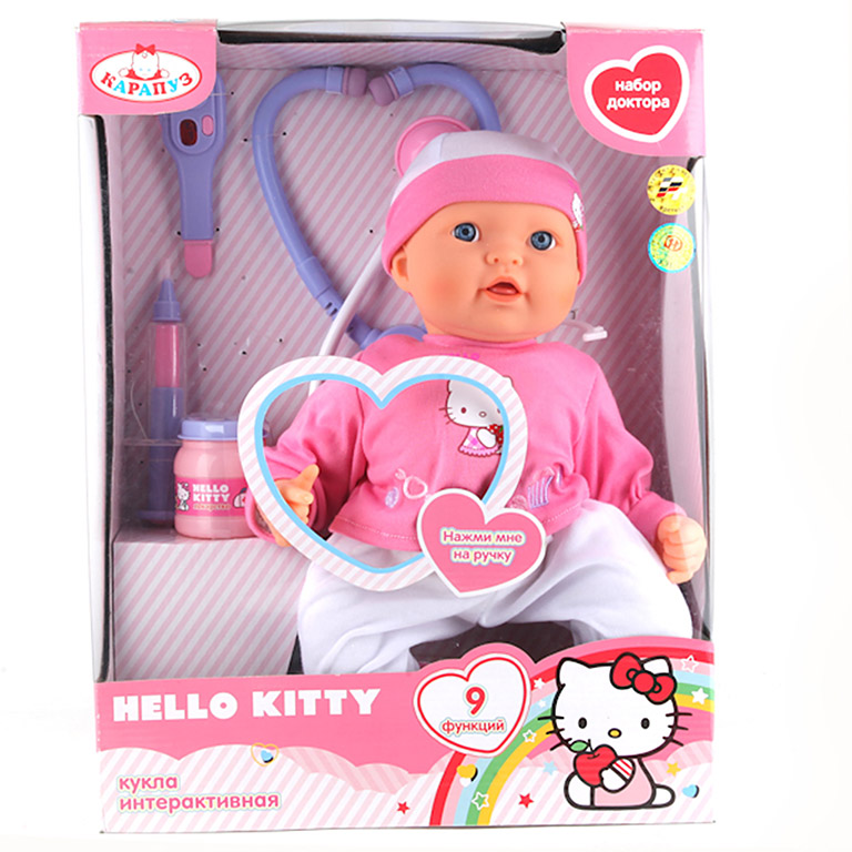 "1612-RU-HELLO KITTY ПУПС ""КАРАПУЗ"" HELLO KITTY 40СМ. НАБОР ДОКТОРА"