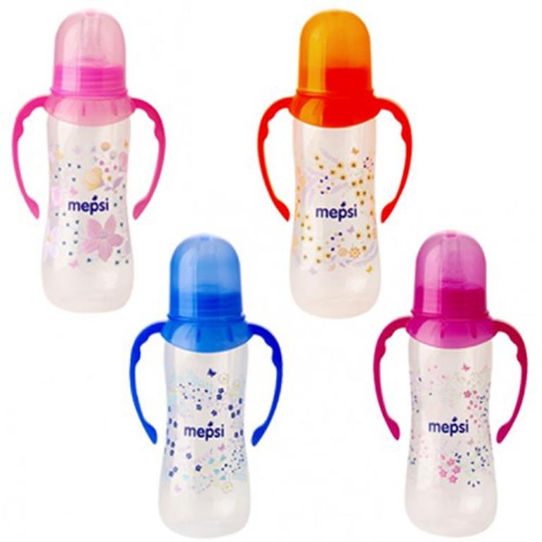 MEPSI 0203 Бутылочка для кормления с ручками с силик. соской,250мл, 4+
