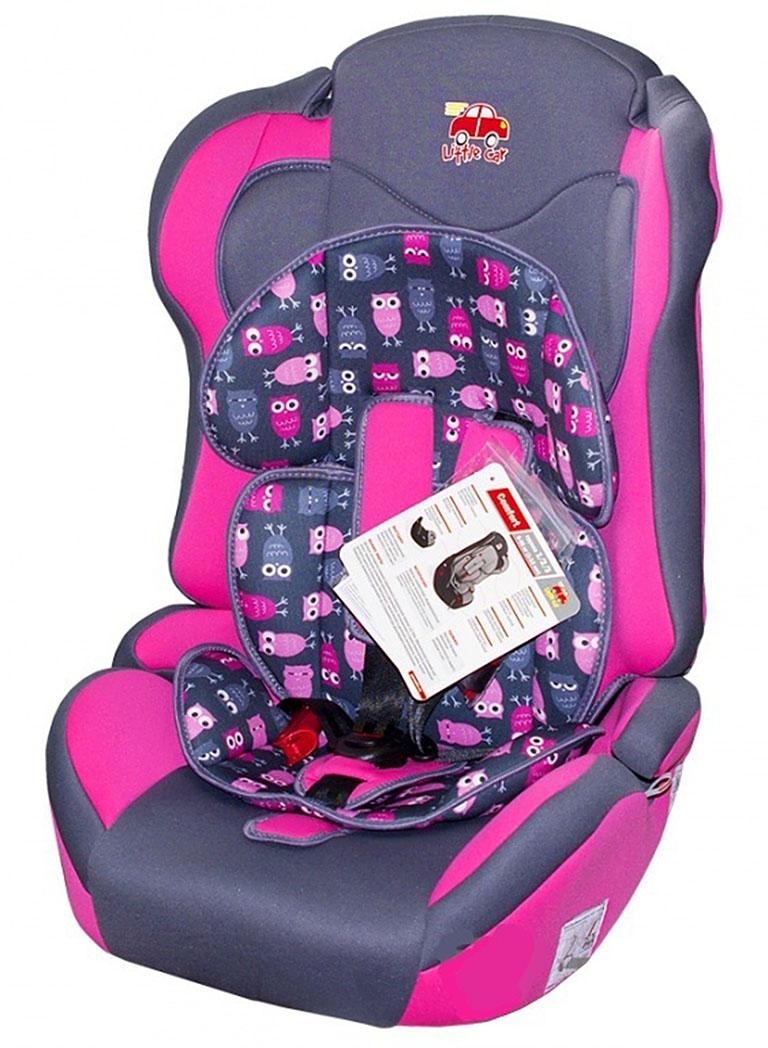 Автокресло детское 9-36кг. Little Car Comfort совы-розовый 126280