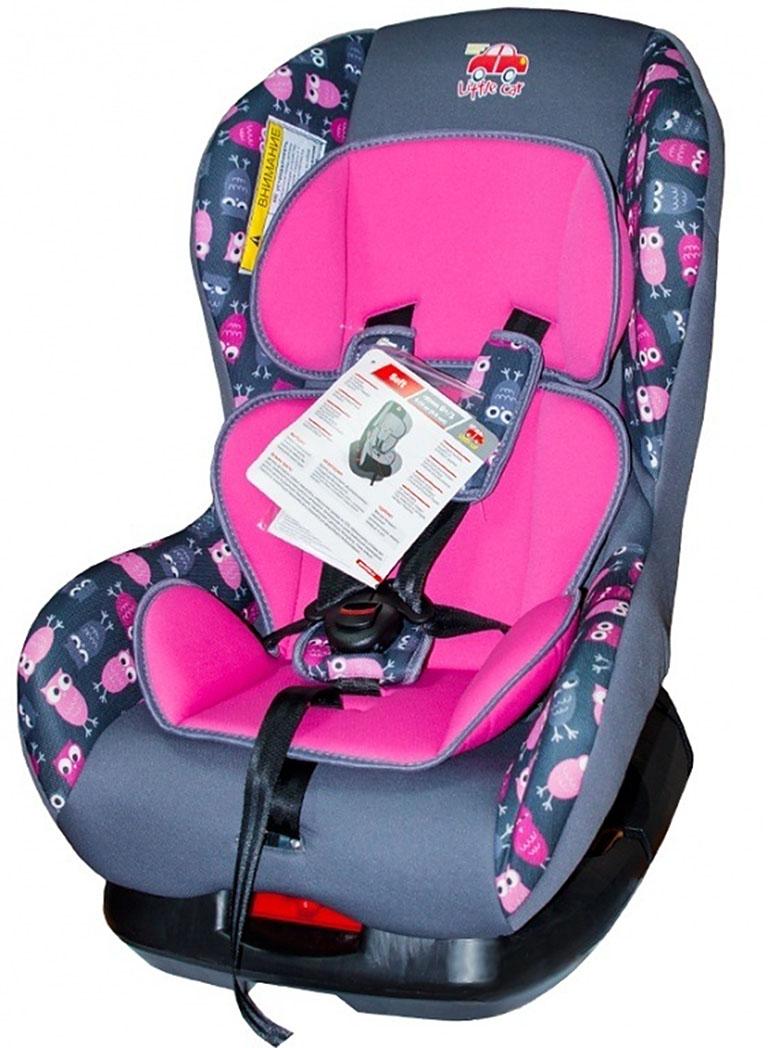 Автокресло детское 0-18кг. Little Car Soft совы-розовый 125985