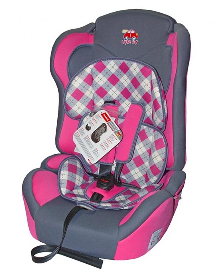 Автокресло детское 9-36кг. Little Car Comfort клетка-розовый 125786
