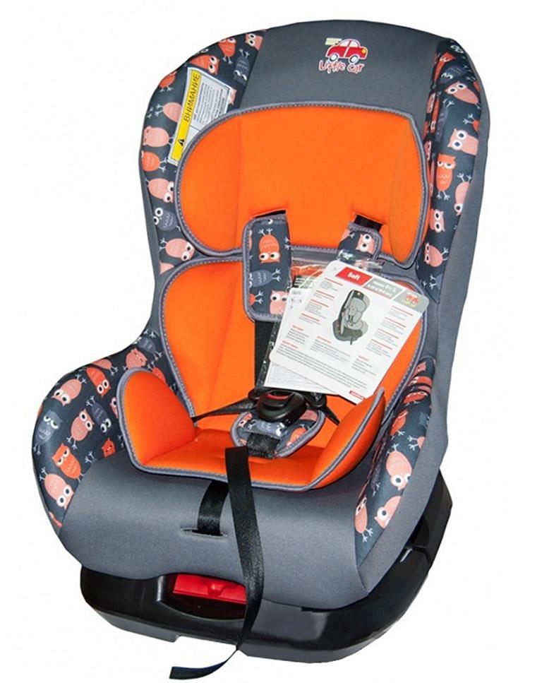 Автокресло детское 0-18кг. Little Car Soft совы-оранжевый  125986