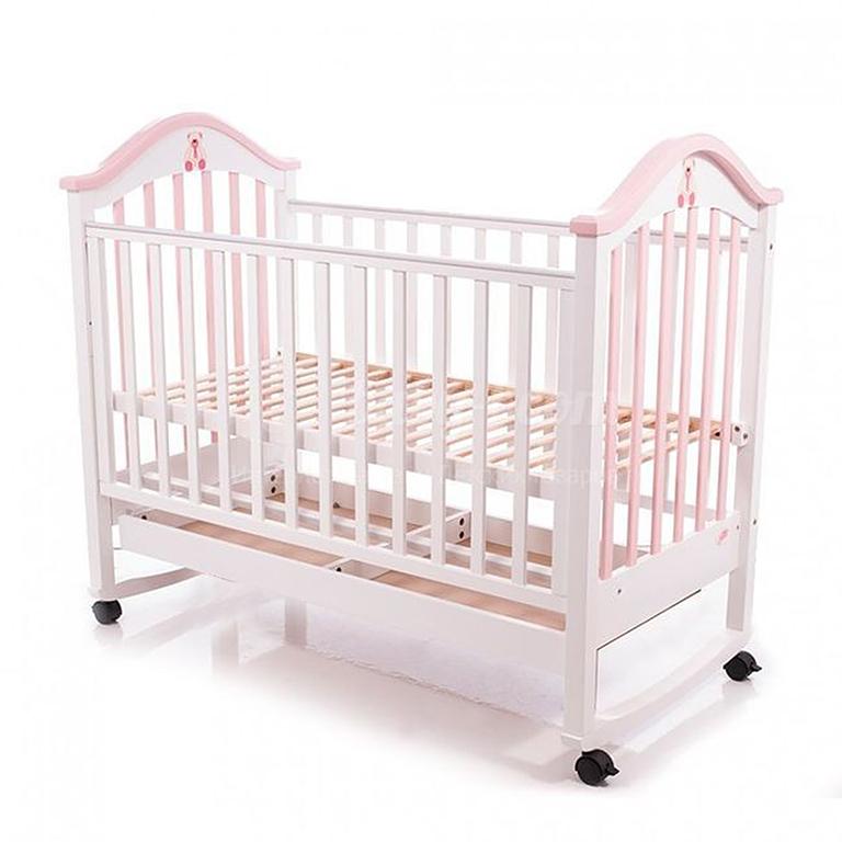Кровать ВС-440М дерево ламель бело-розовая