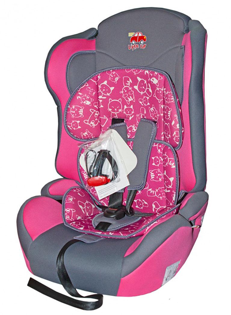 Автокресло детское 9-36кг. Little Car Comfort коты-розовый 125783