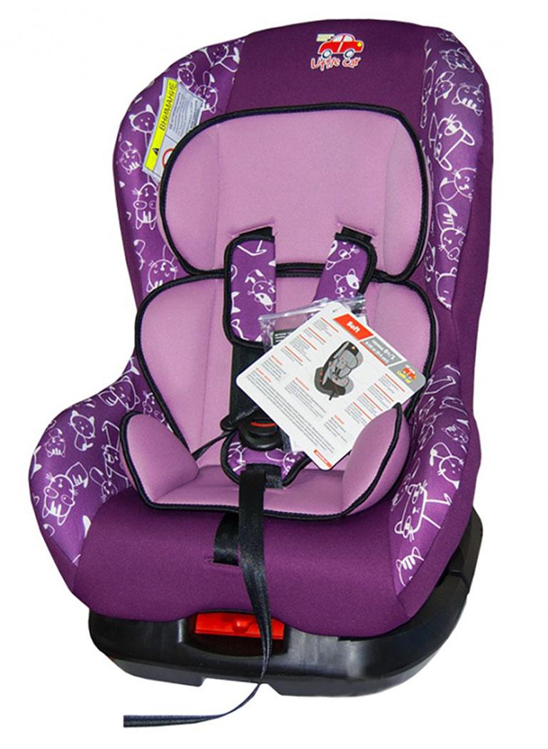 Автокресло детское 0-18кг. Little Car Soft коты-фиолетовый 125978