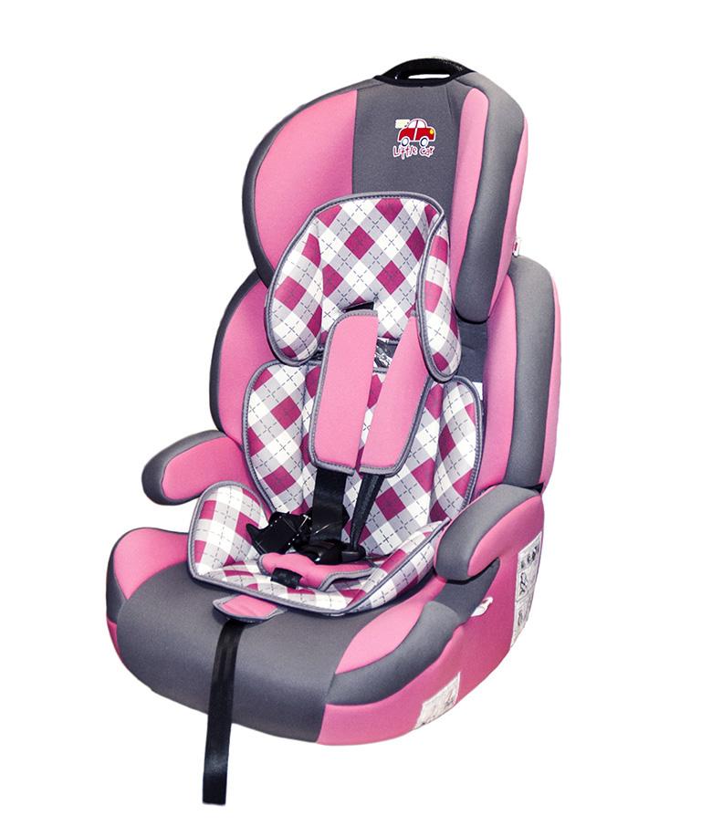 Автокресло детское 9-36кг. Little Car Brave Isofix клетка-розовый 129371